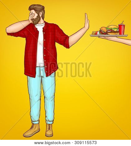 Diet And Weight Loss Control Cartoon Vector Concept. Overweight Man Dont Wont Look, Turning Away, Sh
