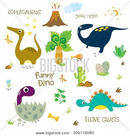 Adorable Dinosaurs Isolated On White Background. Dinosaur Footprint, Volcano, Palm Tree, Stones, Bon