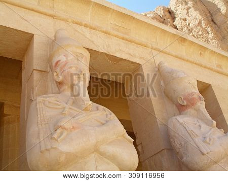 Osiric Statues In The Mortuary Temple Of Hatshepsut In Deir El-bahri. Architecture And Art Of Ancien