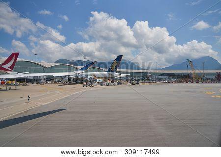 HONG KONG, CHINA - CIRCA APRIL, 2019: Singapore Airlines Airbus A-380 on tarmac in Hong Kong International Airport.