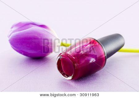 Magenta nail polish