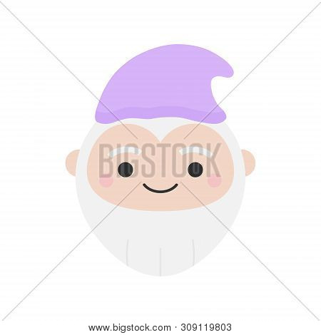 Cute Dwarf Round Graphic Vector Icon. Gnome With Grey Beard And Violet Hat. Fairytale Creature, Magi