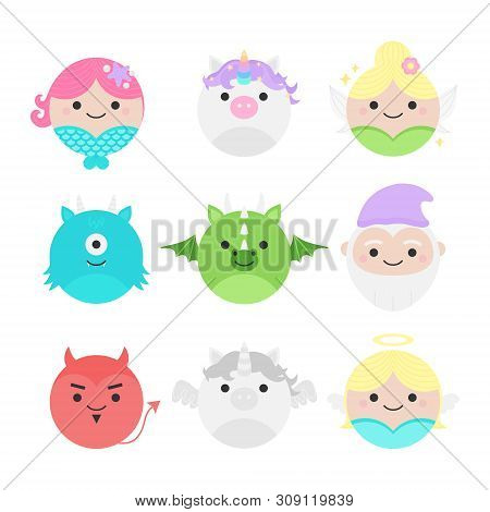 Cute Vector Icon Set Of Fairytale Characters, Mythical Creatures. Round Illustrations; Mermaid, Unic