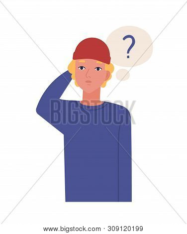 Cute Pensive Teenage Boy Isolated On White Background. Funny Thoughtful Guy In Hat And Thought Ballo
