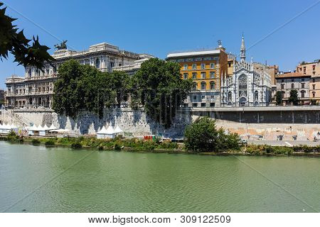 Rome, Italy - June 22, 2017: Amazing View Of The Supreme Court Of Cassation And Tiber River In City