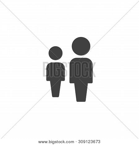 Two People, Leadership Vector Icon. Persons Crowd Filled Flat Sign For Mobile Concept And Web Design