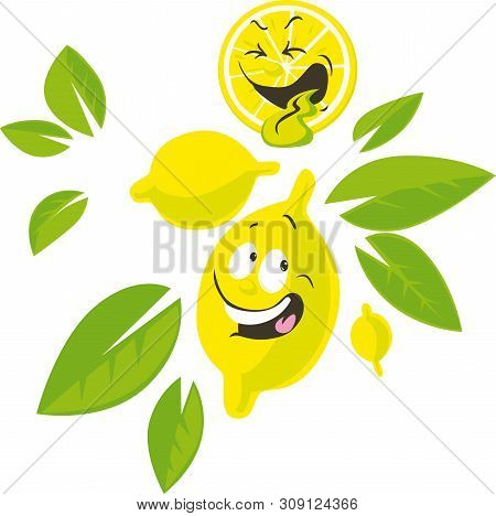 Lemon Cartoon Character With Funny Face - Vector Illustration
