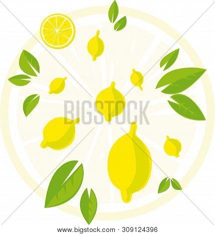 Design With Lemon An Leaf - Vector Illustration