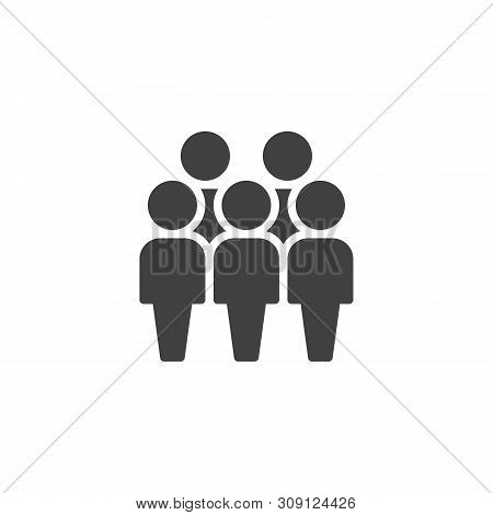 Crowd Of People Vector Icon. Five Person Team Filled Flat Sign For Mobile Concept And Web Design. Pe
