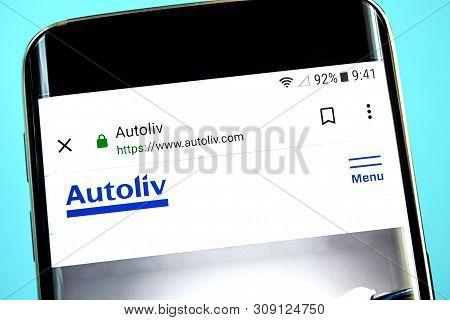 Berdyansk, Ukraine - 1 June 2019: Autoliv Website Homepage. Autoliv Logo Visible On The Phone Screen