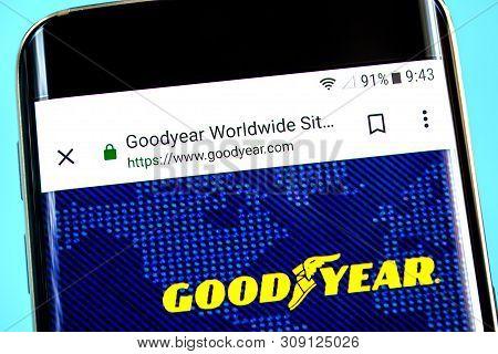 Berdyansk, Ukraine - 1 June 2019: Goodyear Website Homepage. Goodyear Logo Visible On The Phone Scre