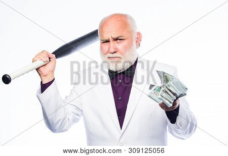 Successful businessman. Brutal business life. Racket and raiding. Kingpin concept. Black cash money. Senior man hold cash money and baseball bat. Richness wellbeing. Money profit. Personal security poster