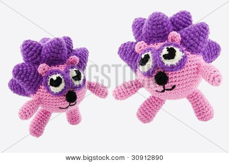 Two Crochet Hedgehogs.
