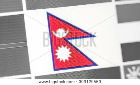 Nepal National Flag Of Country. Nepal Flag On The Display, A Digital Moire Effect. News Of Geography