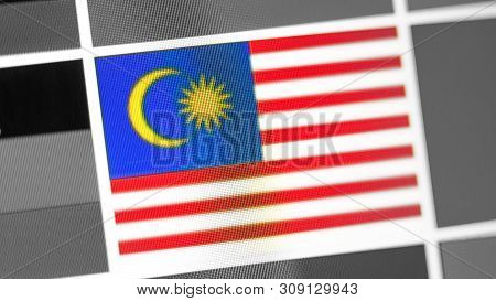 Malaysia National Flag Of Country. Malaysia Flag On The Display, A Digital Moire Effect. News Of Geo