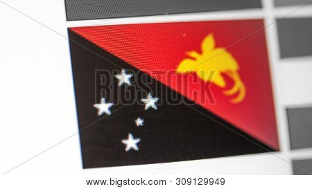 Papua New Guinea National Flag Of Country. Papua New Guinea Flag On The Display, A Digital Moire Eff