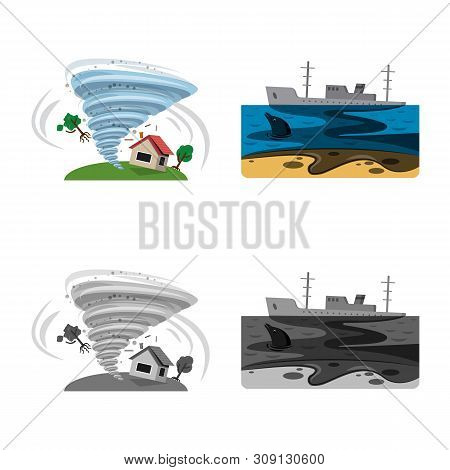 Vector Illustration Of Natural And Disaster Icon. Collection Of Natural And Risk Vector Icon For Sto