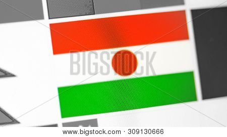 Niger National Flag Of Country. Niger Flag On The Display, A Digital Moire Effect. News Of Geography