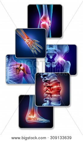 Human Joint Pain Concept As Skeleton And Muscle Anatomy Of The Body With A Group Of Sore Joints As A
