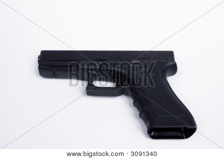 .40 Caliber Handgun Over White Background