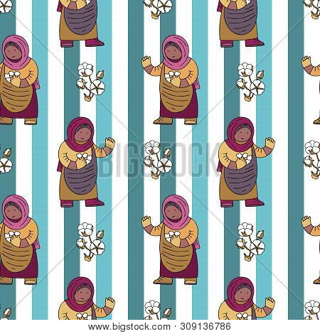 Seamless pattern with cotton bolls collector with a basket against contrast lines. Fine for stationery, gift wrapping paper, fair trade product sites and promomaterials. poster