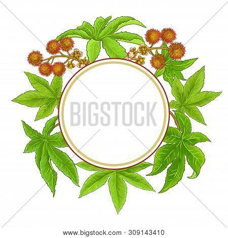 Castor Branches Vector Frame On White Background