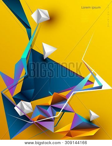 Vector Abstract 3d Geometric, Polygon Background Design. Multicolor, Blue, Purple, Yellow And Green