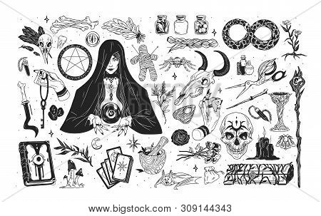 Witchcraft Set - Witch Or Enchantress And Mystical Items For Wizardry, Enchantment, Astrology And Cl