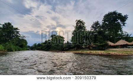 Travel Vacation Tropical Destination. Rapids On The Waterfall Landscape. Travel Vacations Destinatio