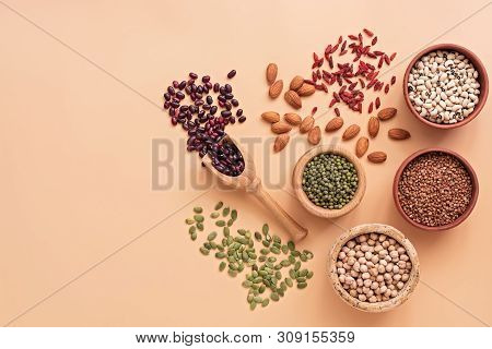 Healthy Vegan And Vegetarian Super Foods, Beans, Pumpkin Seeds, Chickpeas, Buckwheat, Mung Beans, Al