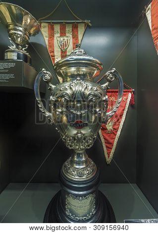 Porto, Portugal - April 2018:  Trophy In The Museum Of Estadio Do Dragao Stadium