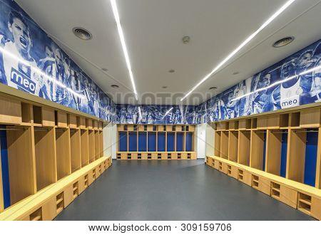 Porto, Portugal - April 2018: Home Changing Room At Estadio Do Dragao Stadium