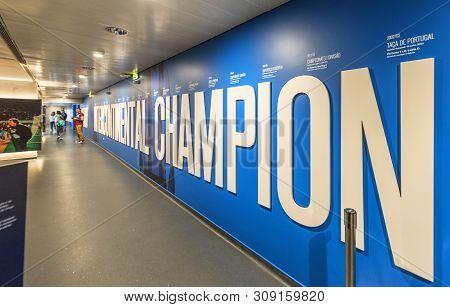 Porto, Portugal - April 2018:  Corridors Of Estadio Do Dragao Stadium