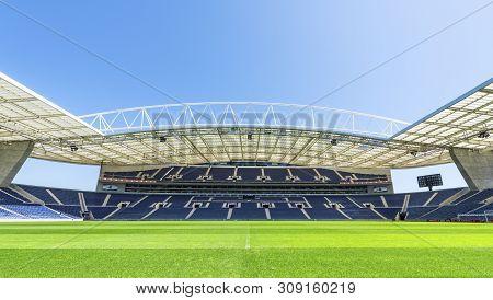 Porto, Portugal - April 2018: Grass View On Estadio Do Dragao Stadium