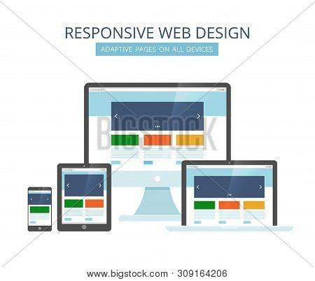 Responsive Web Design. Minimalist Pages Layout Template Adaptive For All Devices Computer Tablet Lap