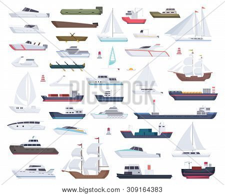 Ocean Ships. Yacht Sailing Boats And Travel Big And Little Vessel Vector Cartoon Collection. Illustr