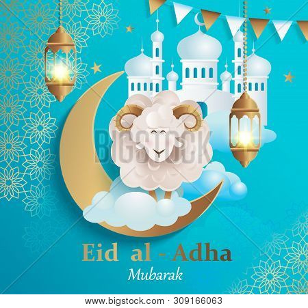 Eid Al-adha Banner.poster For Traditional Muslim Holiday With Sheep, Golden Ornament, Lamp And Mosqu