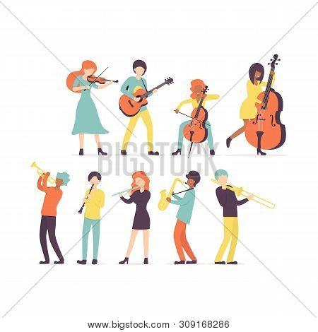 Big Flat Vector Set Group Of Musicians, Stringed Instruments: Violin, Contrabass, Cello And Guitar.
