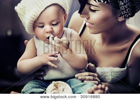 Portrait of a child and mum