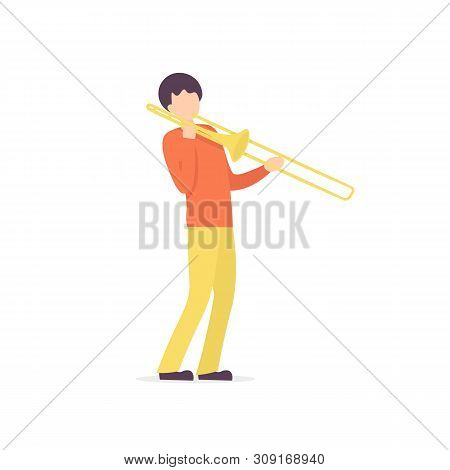 Young Guy Plays The Trombone Jazz Music. Flat Vector Illustration.