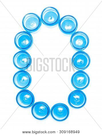 Sign Designation Blue Plastic Jars On A White Background The Word O, High Density Polyethylene, Isol