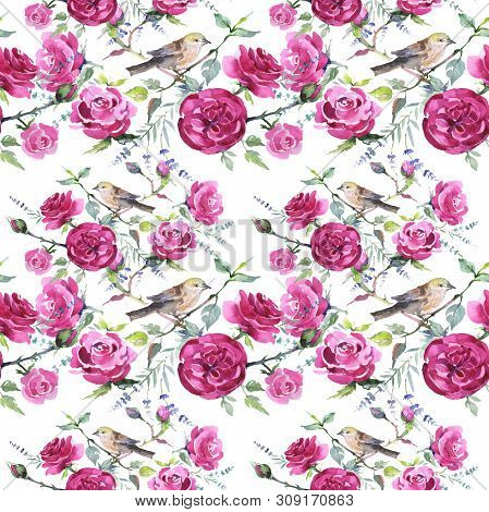 Bouquet Floral Botanical Flowers With Bird. Watercolor Background Illustration Set. Seamless Backgro