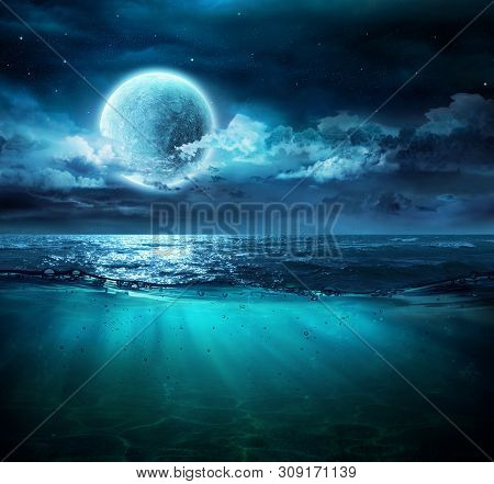Moon On Sea In Magic Night With Underwater Scene
