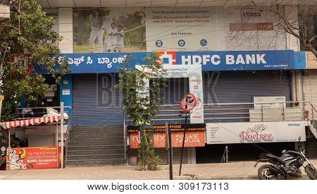 Bengaluru, India June 27,2019 : Front View Building Of Closed Hdfc Bank At Bangalore.