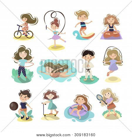 Kids Doing Sport Games, Vector Cartoon Illustration. Playing, Jumping, Swimming Boys And Girls With