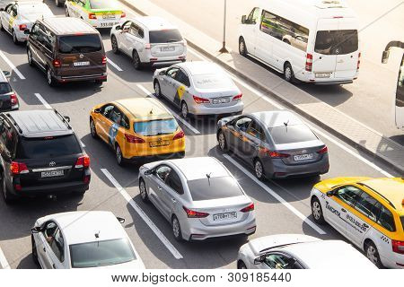 City Traffic, Traffic Jams, A Stream Of Cars. Traffic Jam. A Lot Of Cars. Machines Without Movement.