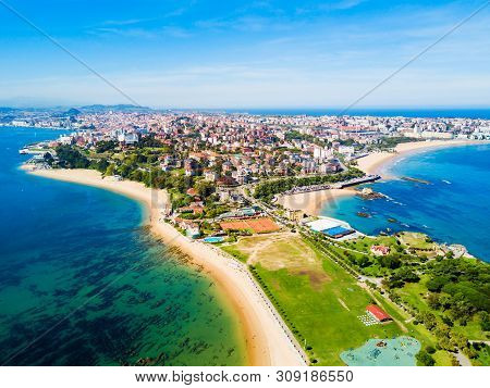 Santander City Beach Aerial Panoramic View. Santander Is The Capital Of The Cantabria Region In Spai