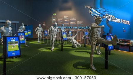 Porto, Portugal - April 2018: Impressive Exposition In The Museum At Estadio Do Dragao