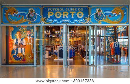 Porto, Portugal - April 2018: Entrance To Fc Porto Fan Shop
