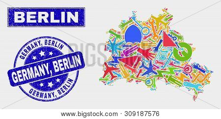 Mosaic Industrial Berlin City Map And Germany, Berlin Stamp. Berlin City Map Collage Composed With R